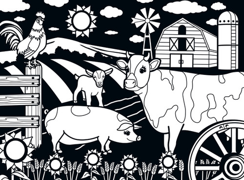 Farm - 60pc Coloring Jigsaw Puzzle by Masterpieces