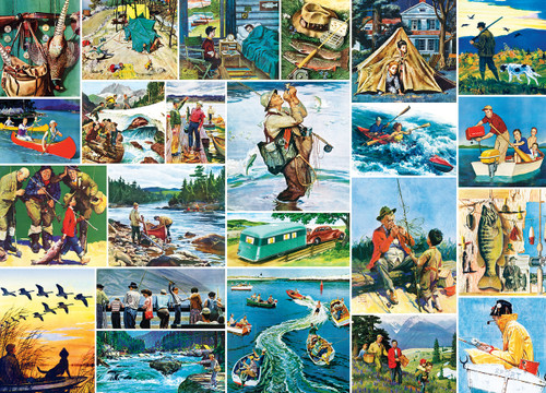 Saturday Evening Post Norman Rockwell: Outdoors Collage - 1000pc Jigsaw Puzzle by Masterpieces