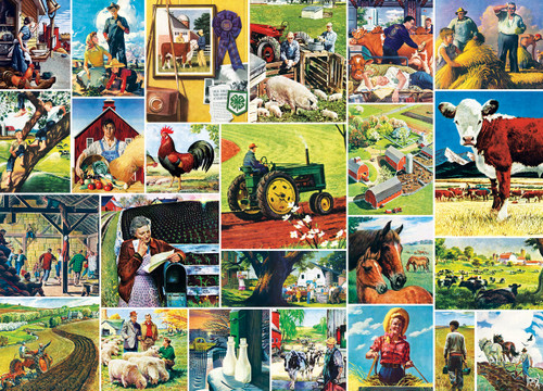 Saturday Evening Post Norman Rockwell: Farmland Collage - 1000pc Jigsaw Puzzle by Masterpieces