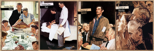Saturday Evening Post Norman Rockwell: The Four Freedoms - 1000pc Panoramic Jigsaw Puzzle by Masterpieces