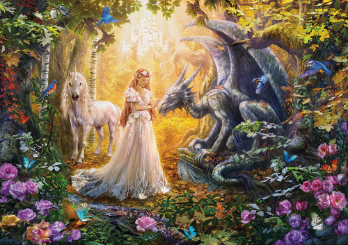 Dragon, Princess, and Unicorn - 1500pc Jigsaw Puzzle by Educa