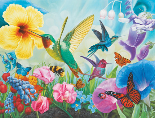 hummingbird garden - 1000pc jigsaw puzzle by lafayette puzzle factory
