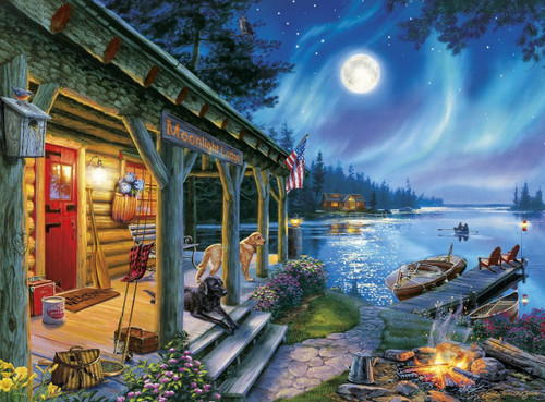 Darrell Bush: Moonlight Lodge - 1000pc Jigsaw Puzzle By Buffalo Games - SeriousPuzzles.com