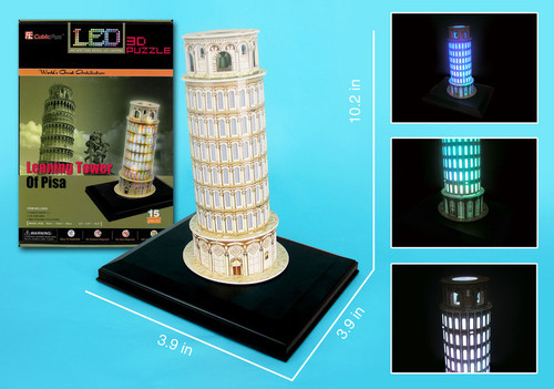 3D DIY Kid Adult Puzzle Leaning Tower of Pisa Italy Jigsaw Educational Toy Gif