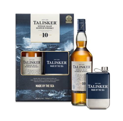 Talisker 10 Hip Flask Gift Set 70cl