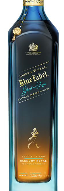 Blue Label Ghost & Rare Glenury 70cl con un grabado