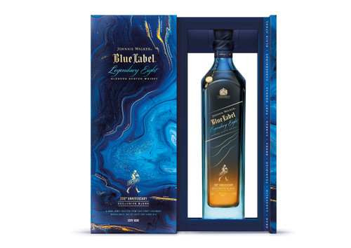 Johnnie Walker Blue Label Legendary Eight Edición Limitada botella y caja abierta 70 cl