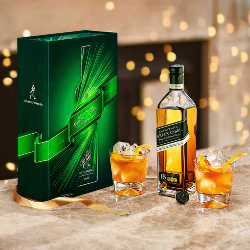 Johnnie Walker Green Label Pack Regalo lifestyle botella, caja y vasos 70 cl
