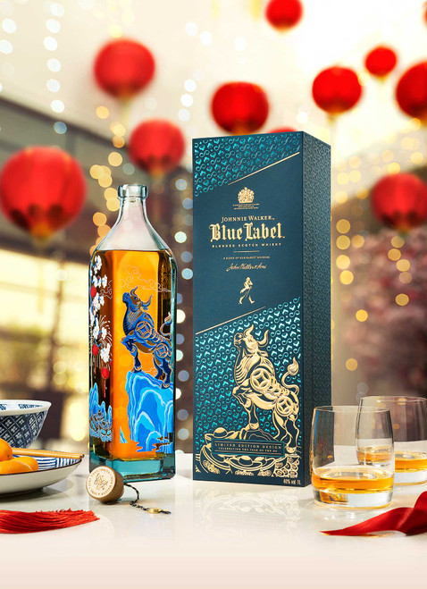 Johnnie Walker Blue Label Año del Buey botella, caja y vaso 70 cl