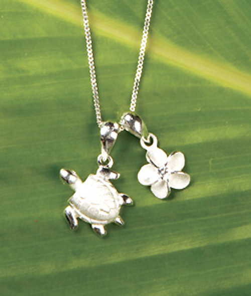Ku'uipo Sterling Silver Honu & Plumeria Double Charm Necklace