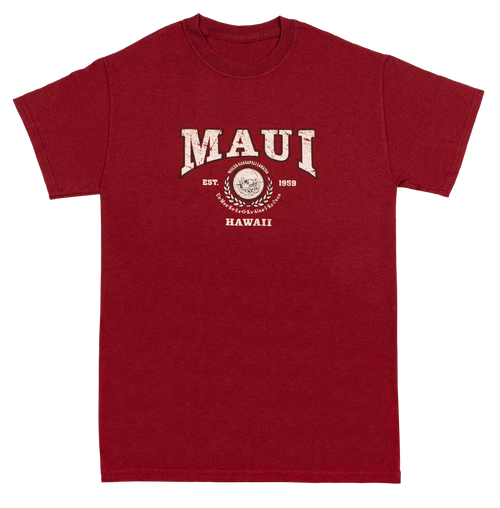 Vintage Dyed Tee - Collegiate MAUI in Wine color