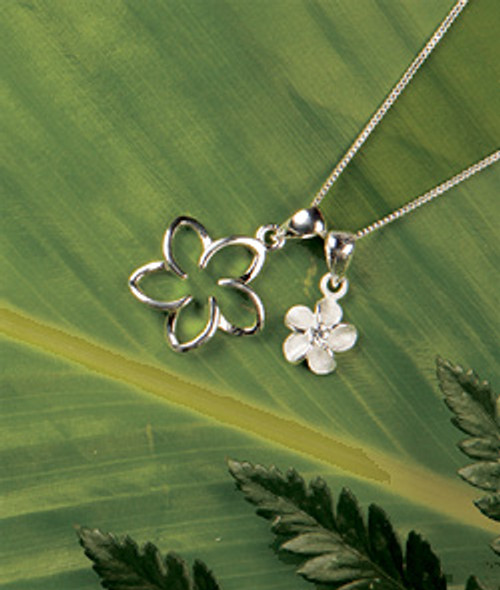 Ku'uipo Sterling Silver Plumeria Double Charm Necklace
