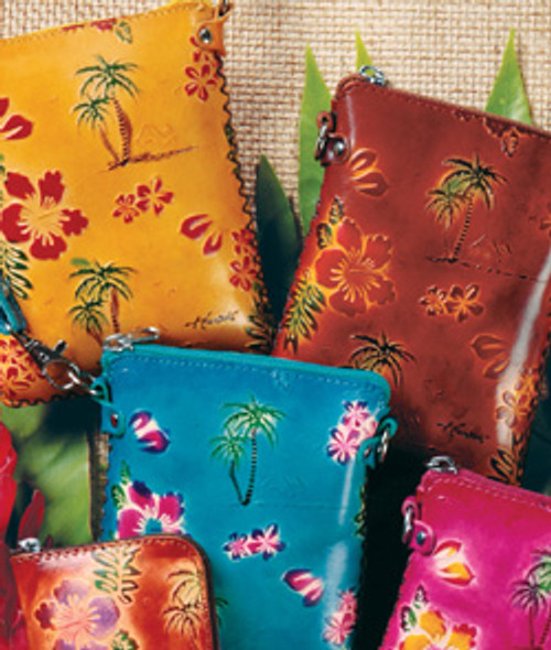 Small Travel Pouches in the following vibrant colors: Yellow, Blue, Pink, Brown and Natural Honu