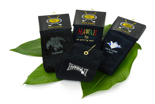 Embroidered Golf Towels arrayed by design from left to right: Honu, Rainbow Hawaii, and Hangloose
