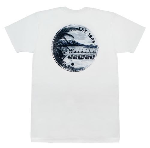 Crew Neck Tee - Retro Waikiki - White