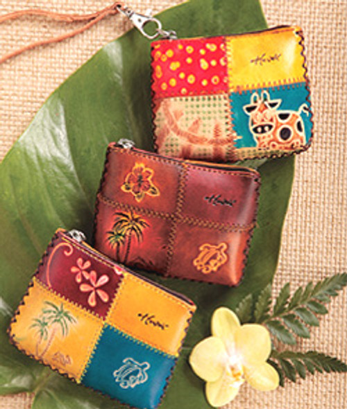 Rectangular Coin Purses in the following designs: Moo'd Patch, Dark Honu and Light Honu