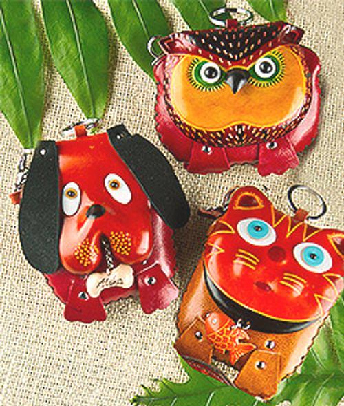 Medium Animal Wristlet in the following designs: Dog, Owl, Cat