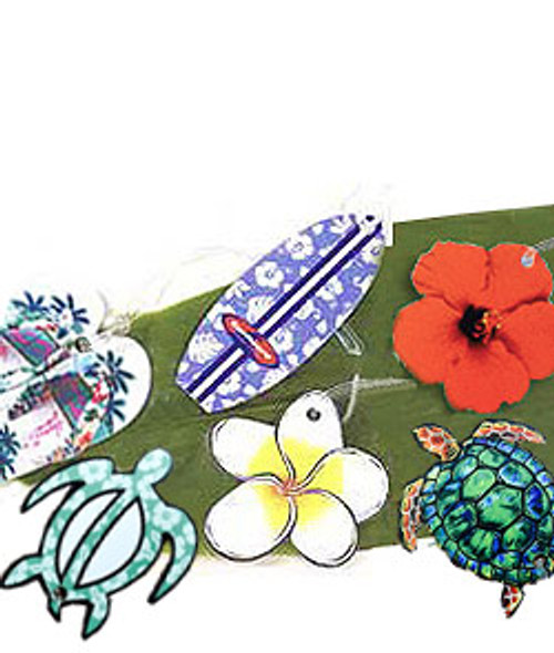 Aloha Luggage Tags in designs: Palm Slipper, Petro Honu, Surfboard, Plumeria, Turtle and Red Hibiscus