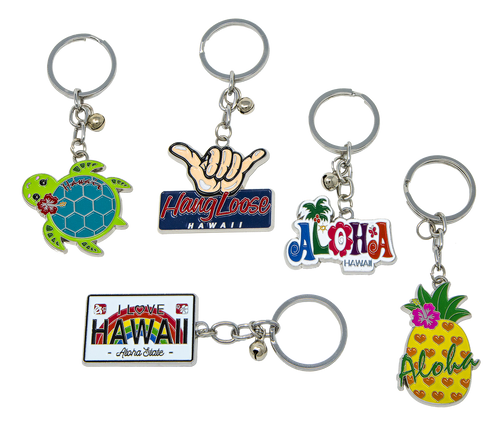 Metal Enamel Keyrings - Island Memories in the following designs: Hawaii License, Aloha Fun, Hangloose, Aloha Pineapple and Honu with Flower