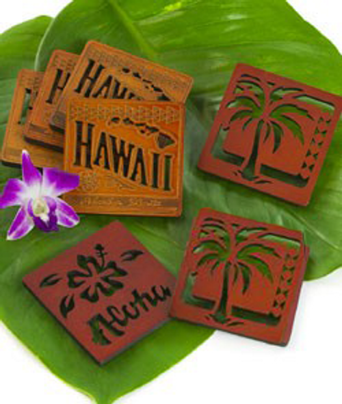 Wooden Coaster Set - Assorted Designs in the following designs: Hawaiian Islands, Palm Tree and Aloha Bold