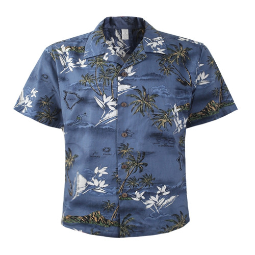 Men's Cotton Aloha Shirt - Blue Surf