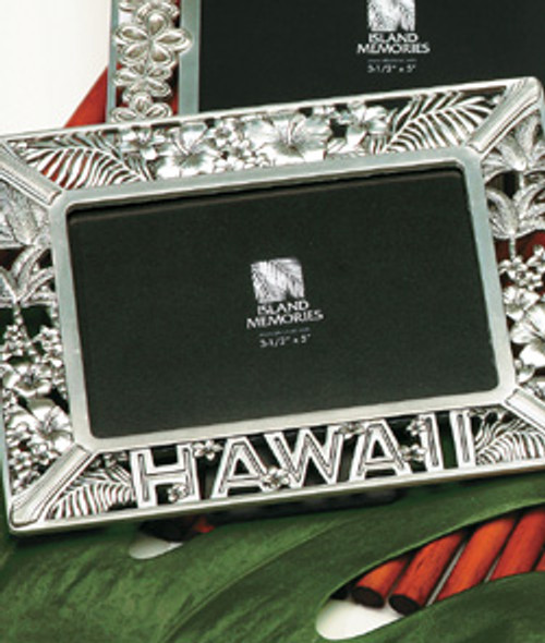 Tropical Pewter CollectionFloral Hawaii Photo Frame in Floral Hawaii design