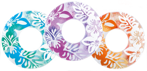 "36"" Hibiscus Inflatable Ring shown in turquoise, purple, and orange"