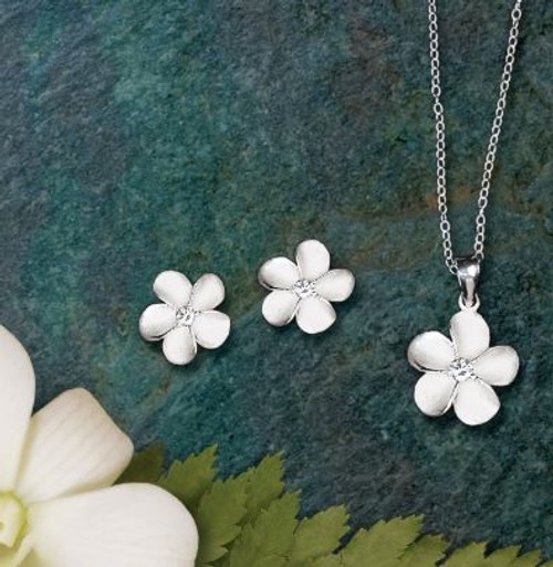 Ku'uipo Sterling Silver Sweetheart Jewelry Set containing a pair of Plumeria Earrings and a Plumeria Necklace
