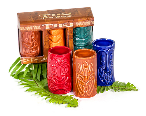 Tiki Shot Glasses Comes in a set of 3. Two sets to choose from: Set #1 (from left to right): Brown Flame-A-Huna, Royal Blue Hula Ka-Boola, Red Hui Kalui Set #2 (from left to right): Green Hula Hiki, Orange Hyponotiki, Light Brown Big Tapa-Ru