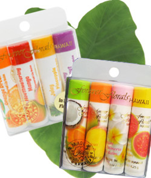 Forever Florals® Lip Balm Four Packs, both Island Originals and Island Flavors