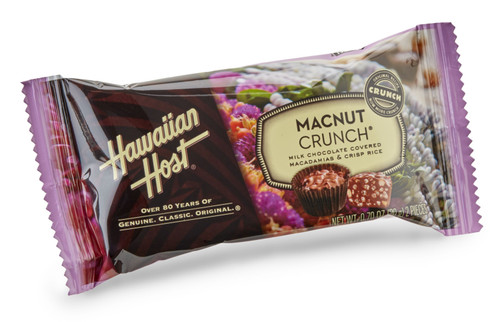 A single Hawaiian Host Macadamia Nut Crunch Chocolates individually wrapped in two piece bars. Sold as a 24 pack.