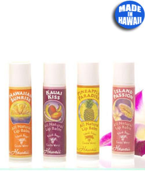 Island Soap Company Lip Balms in the following order from left to right: Hawaiian Sunrise, Kauai Kiss, Pineapple Paradise, and Island Passion