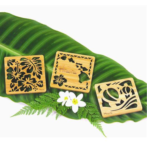 Tropical Bamboo Die-Cut Coaster in designs: Hibiscus Flowers, Hawaiian Islands and Honu