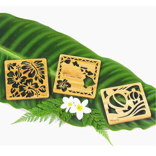 Tropical Bamboo Die-Cut Coaster in designs: Hibiscus Flowers, Hawaiian Islands and Honu