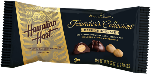 A single Hawaiian Host Founder's Collection Dark Chocolate Covered Macadamia Nuts individually wrapped in two piece bars. Sold as a 24 pack.