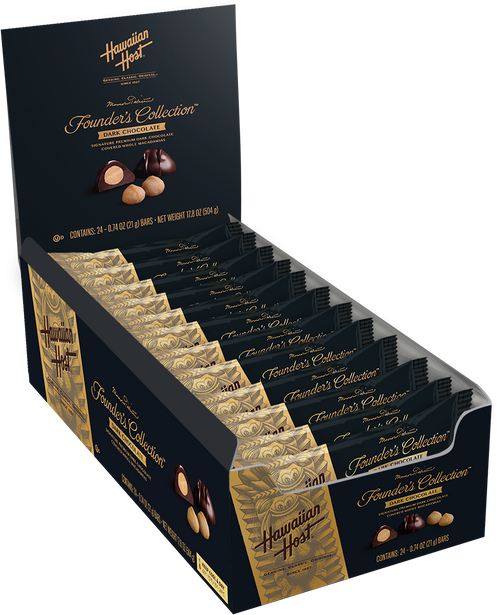 Hawaiian Host Founder's Collection Dark Chocolate Covered Macadamia Nuts individually wrapped in two piece bars. Sold as a 24 pack.