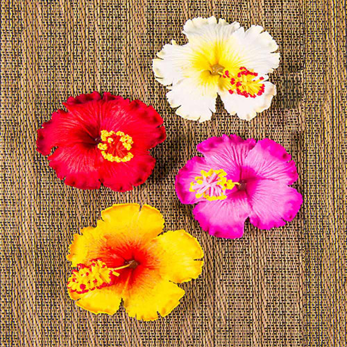Hibiscus Hair Clip by Olu Olu in white, red, pink, and yellow