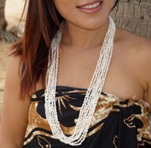 Shell Lei Necklace on a beautiful female model