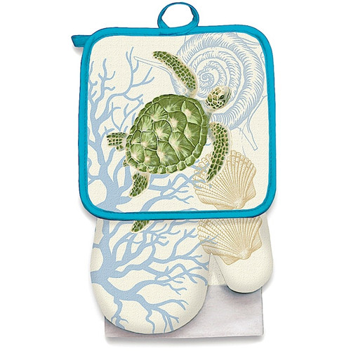 Premium Kitchen Set in Honu Voyage design. Each Kitchen Set includes one each of the following: oven mitt, potholder, and dish towel.