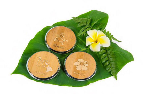 Tropical Bamboo Metal Coaster in Honu, Islands of Hawaii, Hibiscus and License Plate design