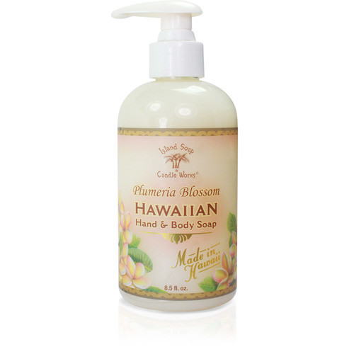 Hand and Body Soap Dispenser with Pump. Scented in Plumeria Blossom.