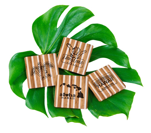 Tropical Bamboo Striped Coaster in Hangloose, License, Islands and Honu designs