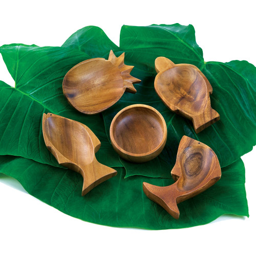 """Tropeco® Monkeypod Wood - Mini Dish in the following designs (pictured from left to right): Fish (6.5""""), Pineapple (6""""), Round Calabash (4""""), Honu (Turtle) (6.5""""), Dolphin (6.5"""")"""