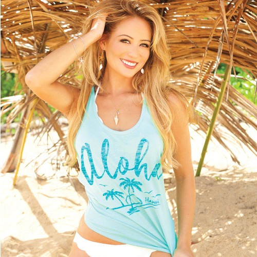 Female model standing wearing Island Girl® Racerback Tee - Aloha Palms in Mint color