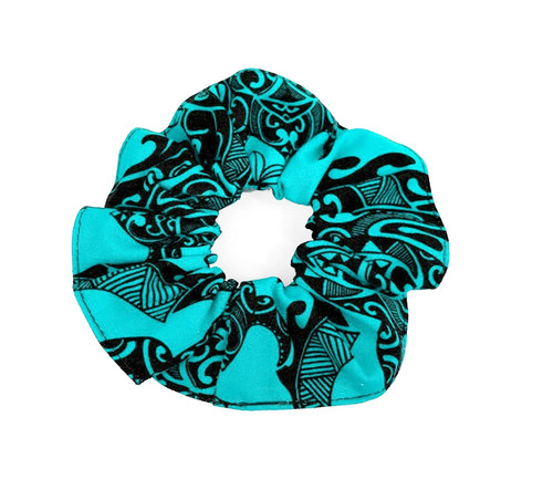 Island Style Scrunchie - Tribal Honu in Blue color