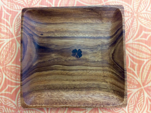 Tropeco® Monkeypod Wood Medium Square Plate with Hibiscus heat stamp design