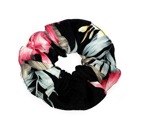 Island Style Scrunchie - Orchid Garden in Black color