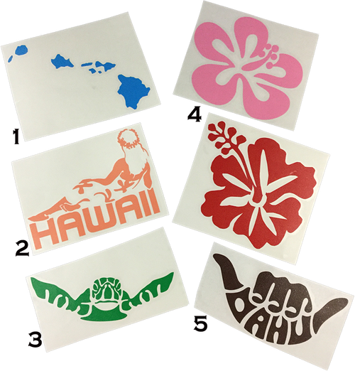 "Tiki Toes 4"" Sticker in Hibiscus design"
