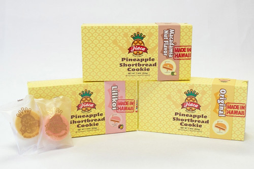 Piaca Shortbread Crust Pineapple Pastry Six Packs available in Original, Macadamia Nut, and Lilikoi flavors