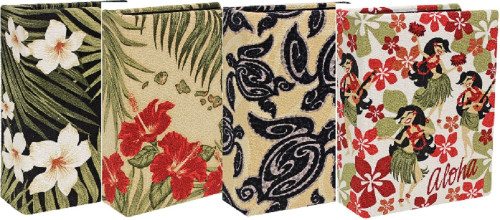 92 Pocket Fabric Photo Albums in the following designs from left to right: Plumeria Black, Hibiscus Island Chain, Tribal Honu, and Hula Honeys